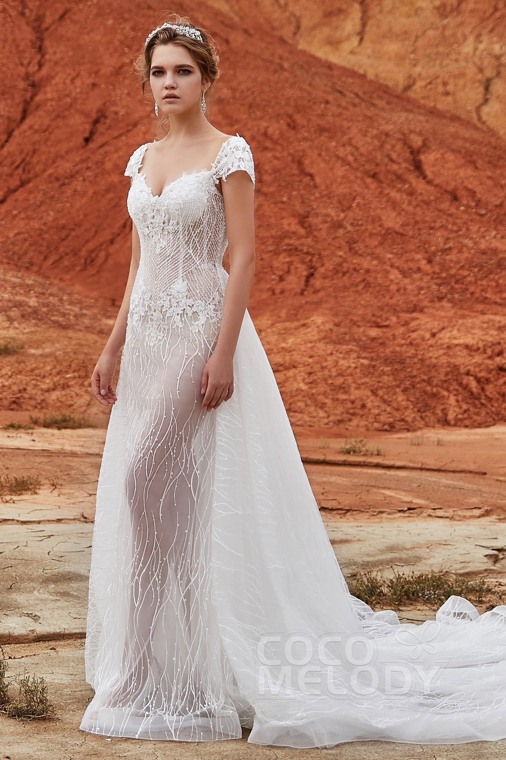 63f241bfd3036 Trumpet-Mermaid Chapel Train Tulle and Lace Wedding Dress LD5837