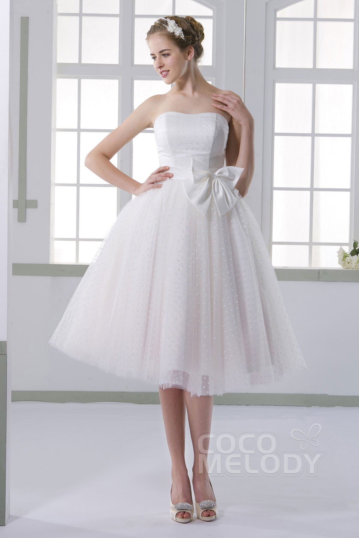 Cocomelody: Perfect A-line Sweetheart Natural Tea Length Tulle Ivory ...