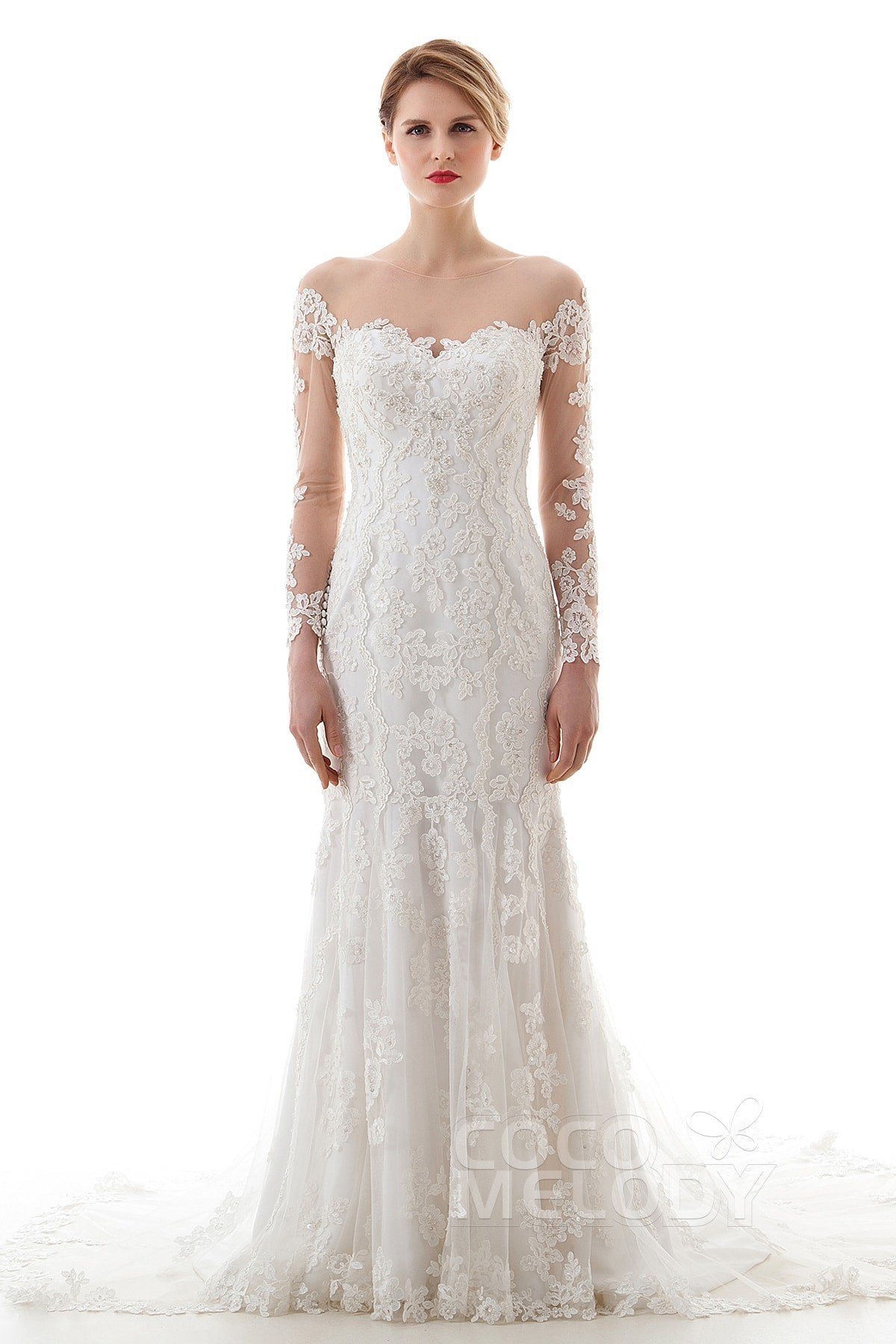 Charming Trumpet-Mermaid Illusion Dropped Court Train Lace and Tulle Ivory Long  Sleeve Buttons Wedding Dress with Appliques and Beading LD4620 78c040d96