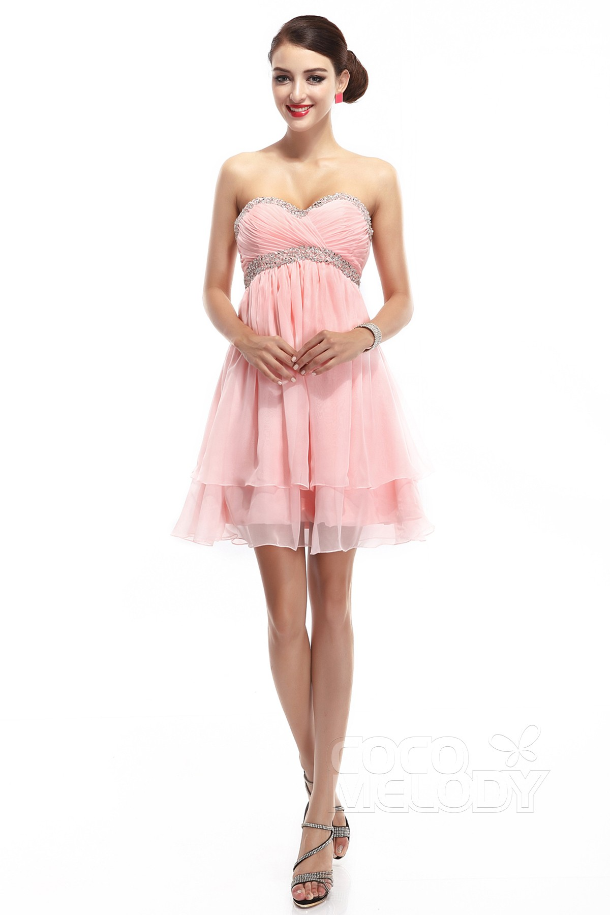 Co elody A Line Sweetheart Empire Short Mini Chiffon Baby Pink