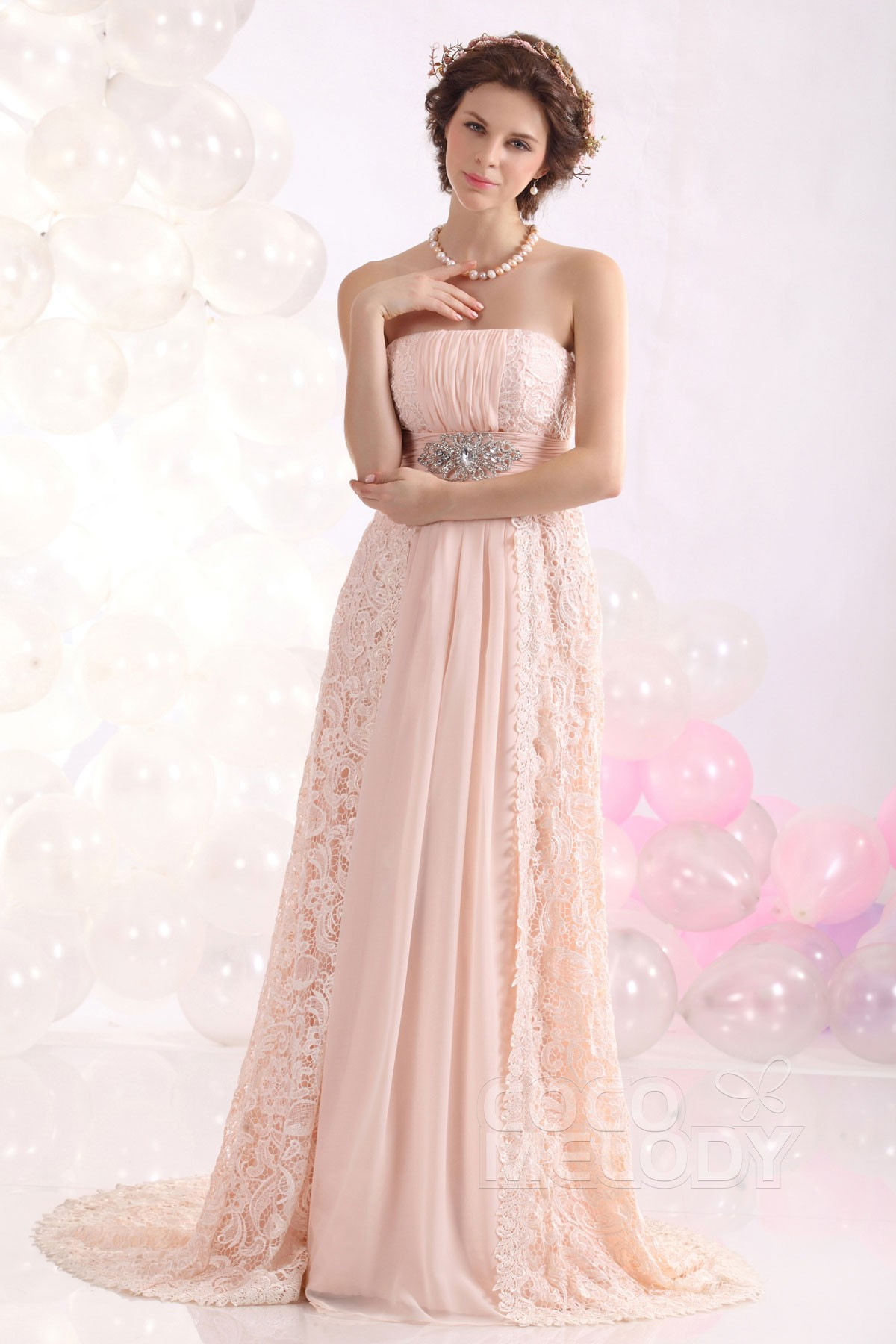 Cocomelody: Romantic Sheath-Column Strapless Sweep-Brush Train Lace ...