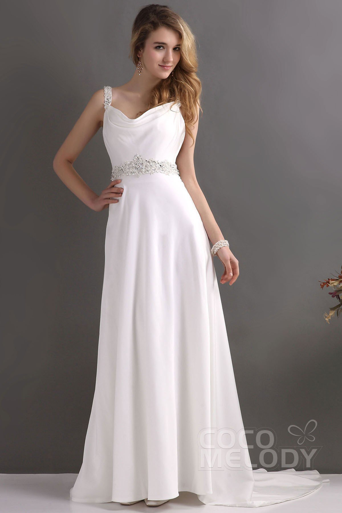 Sheath Column Train Chiffon Wedding Dress Cwvt13001 Cocomelody