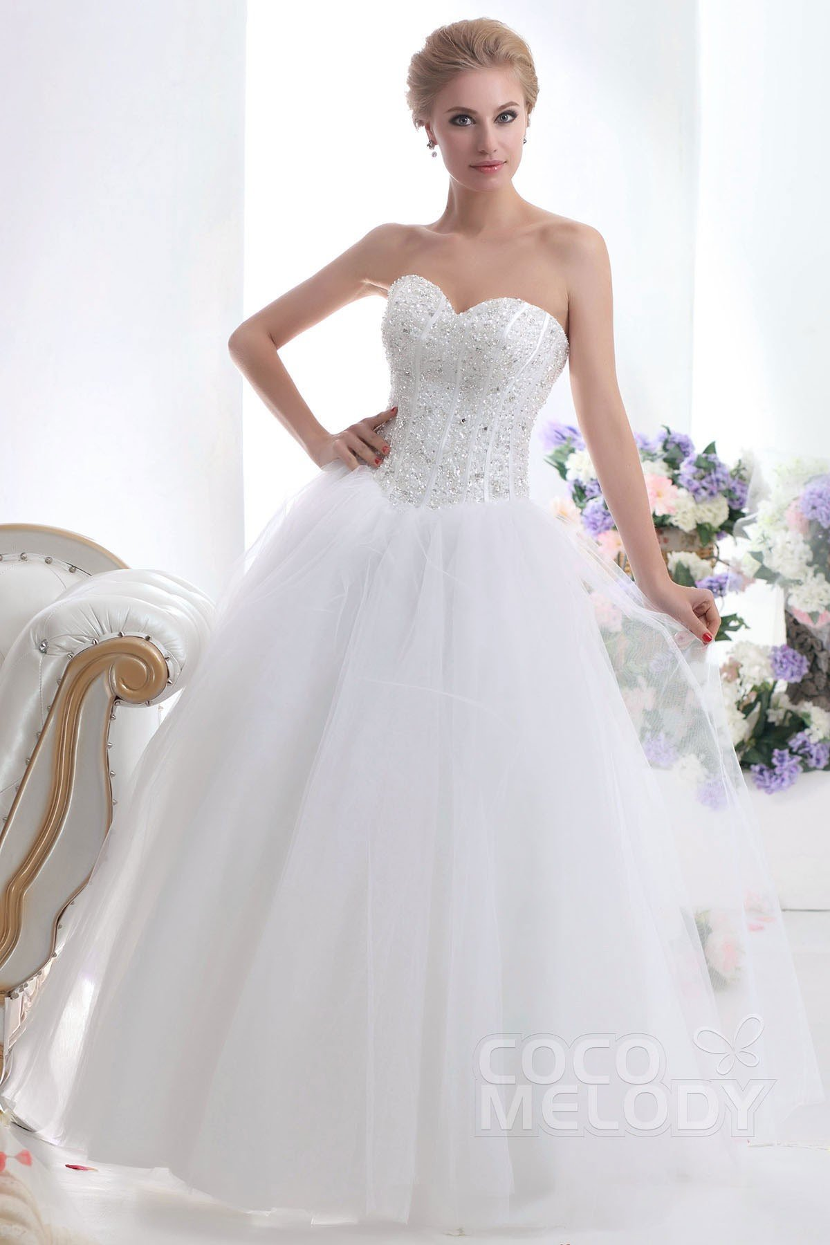 Cocomelody: Graceful Ball Gown Sweetheart Basque Waist Floor Length ...