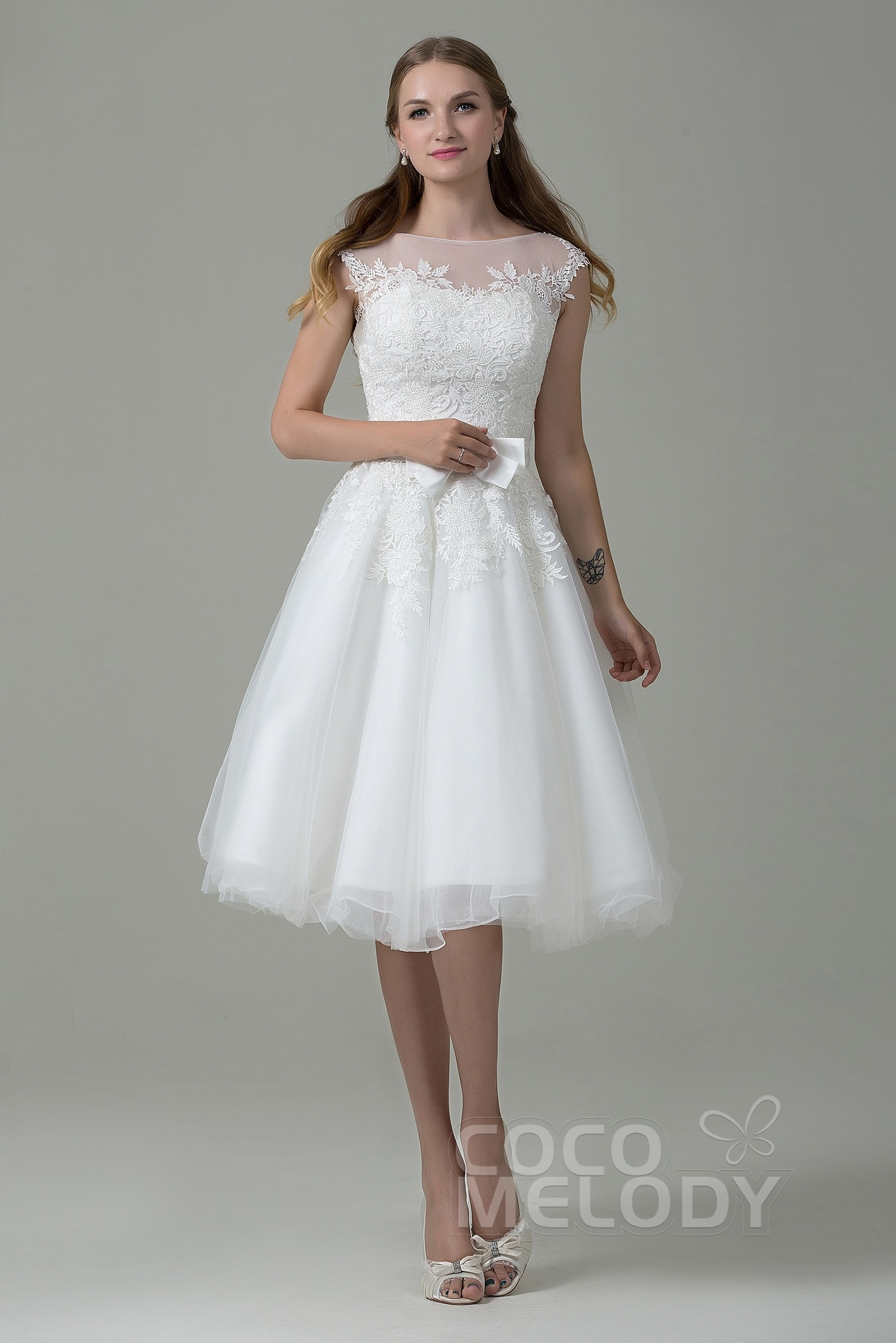 Sweet A-Line Illusion Natural Knee Length Tulle and Lace Ivory Sleeveless  Zipper With Button Wedding Dress with Appliques and Sashes CWXI12