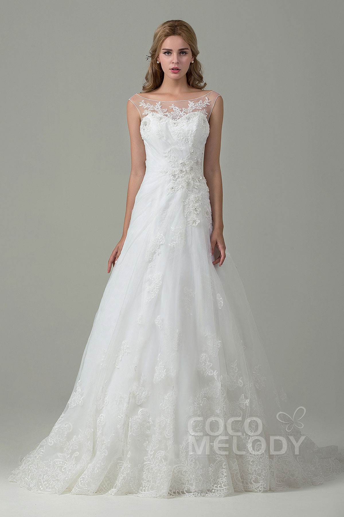 Cocomelody: Chic A-Line Illusion Tulle & Lace Wedding Dress w ...