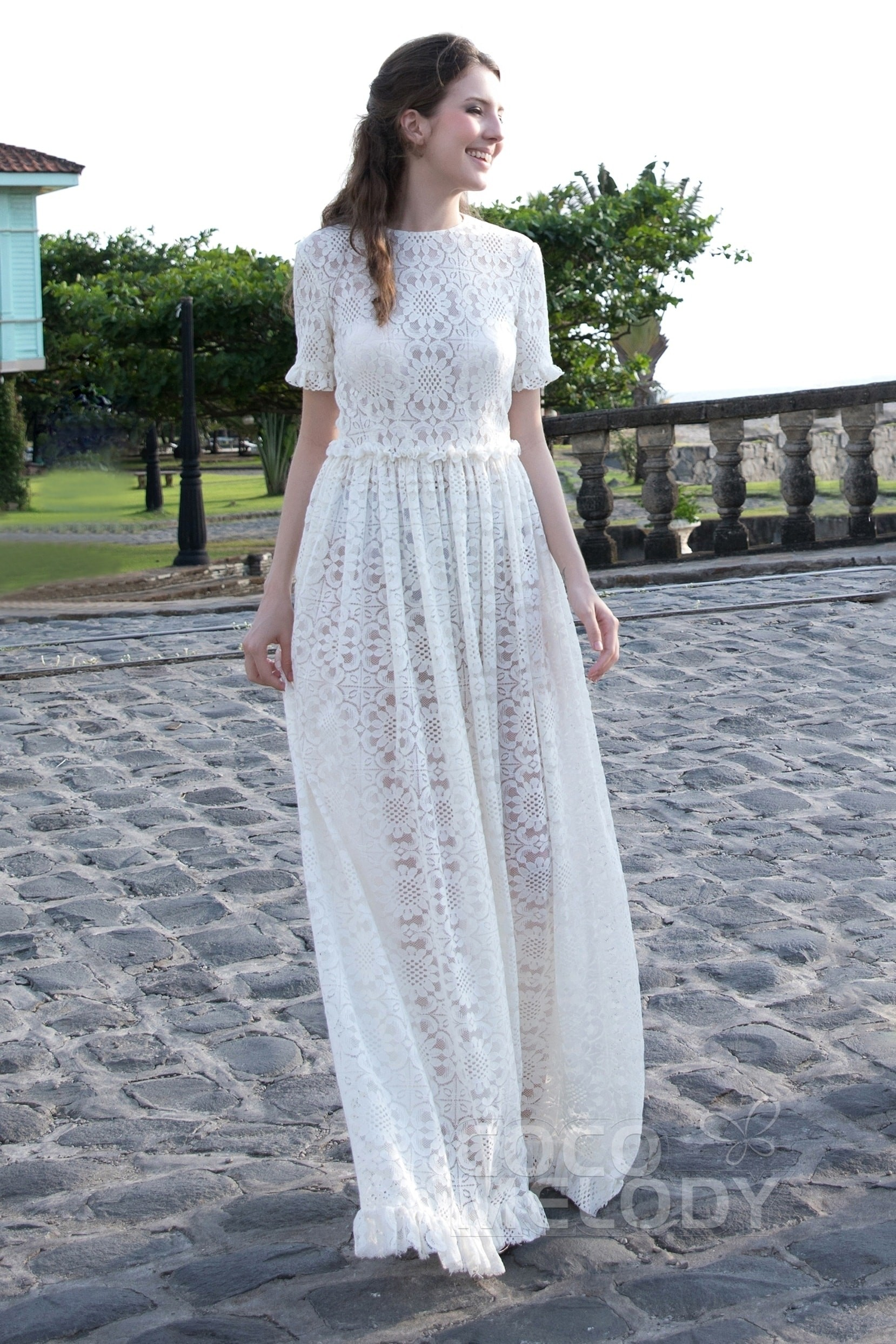 Cocomelody: Impressive A-Line Jewel Natural Floor Length Tulle Lace ...