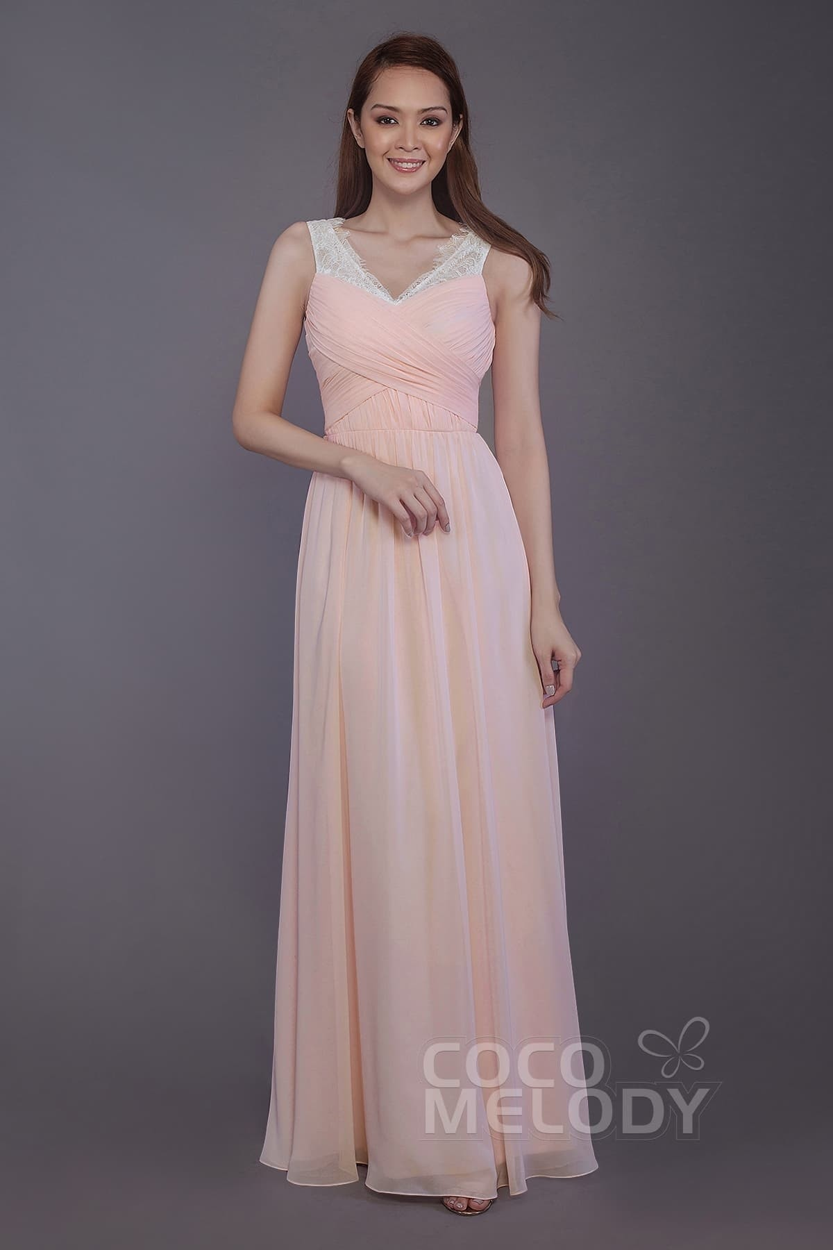 b143a475b0678 Sheath-Column Floor Length Chiffon and Lace Bridesmaid Dress PR3542