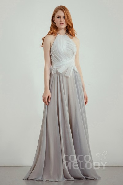 a8e21604e59de A-Line Sweep-Brush Train Organza and Chiffon Bridesmaid Dress CB0241