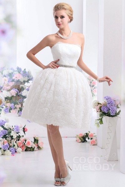 Vintage Ball Gown Strapless Knee Length Wedding Dress CWZK13001