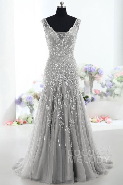 e76bbfbad724 Modest Trumpet-Mermaid V-Neck Tulle Mother Of The Bride Dress COLT1300F