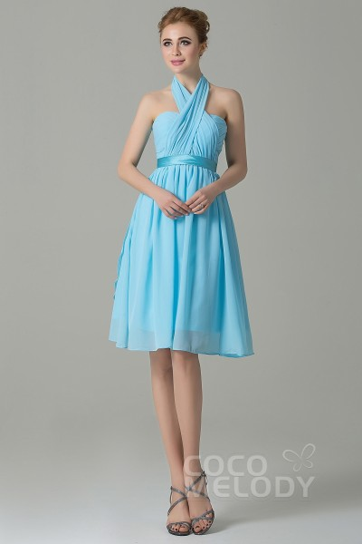f0f795b87a8 Classic A-Line Knee Length Chiffon Convertible Bridesmaid Dress with Sashes  and Draped Streamers COZM14050