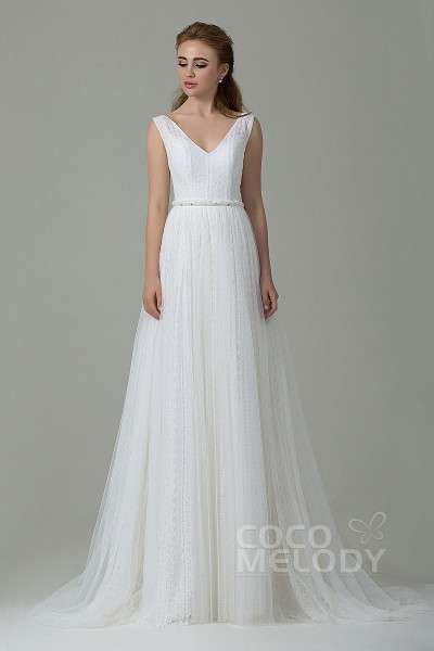 Cocomelody outdoor wedding dresses sheath column sweep brush train lace wedding dress cwat15002 junglespirit Gallery