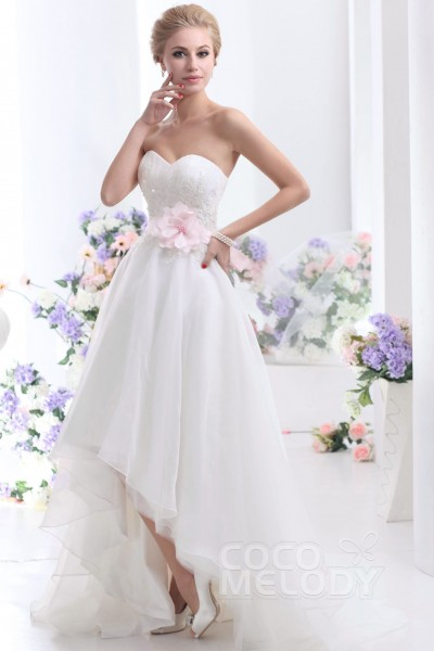 Cocomelody short wedding dresses reception dresses pretty asymmetrical sweetheart high low organza wedding dress cwlh1300a junglespirit Images